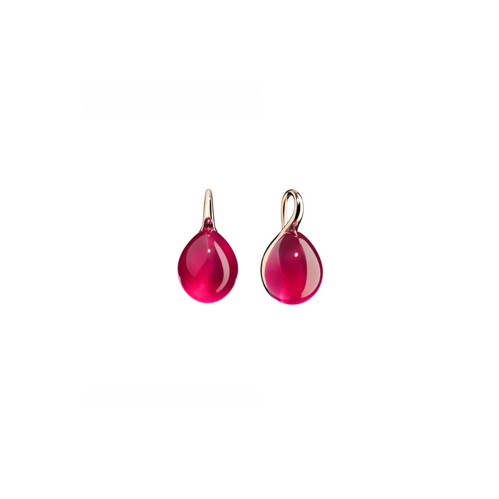 Rouge Passion Red Ruby Rose Gold Earrings