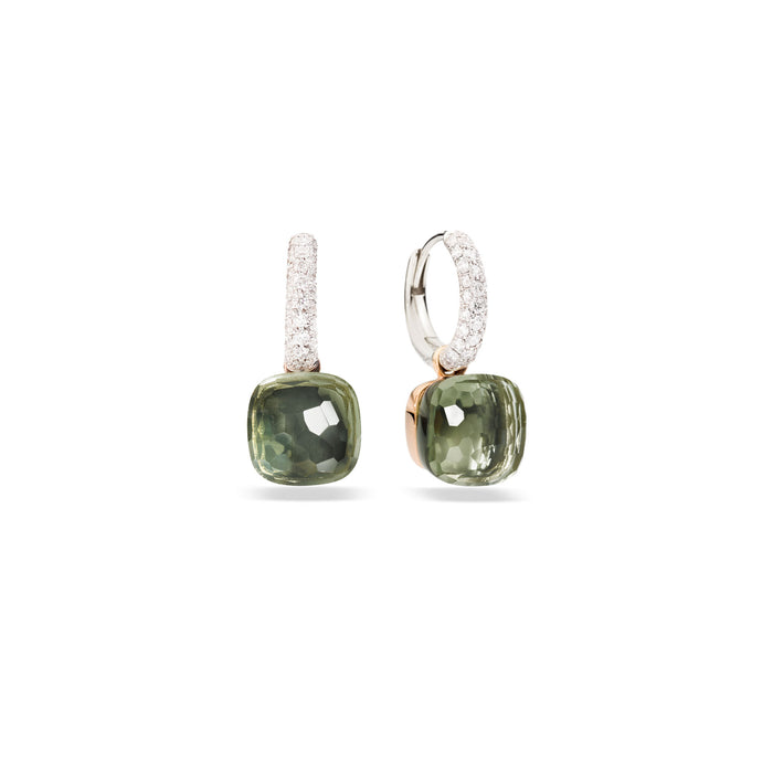 Nudo Classic Earrings in Rose and White Gold with Prasiolite and Diamonds