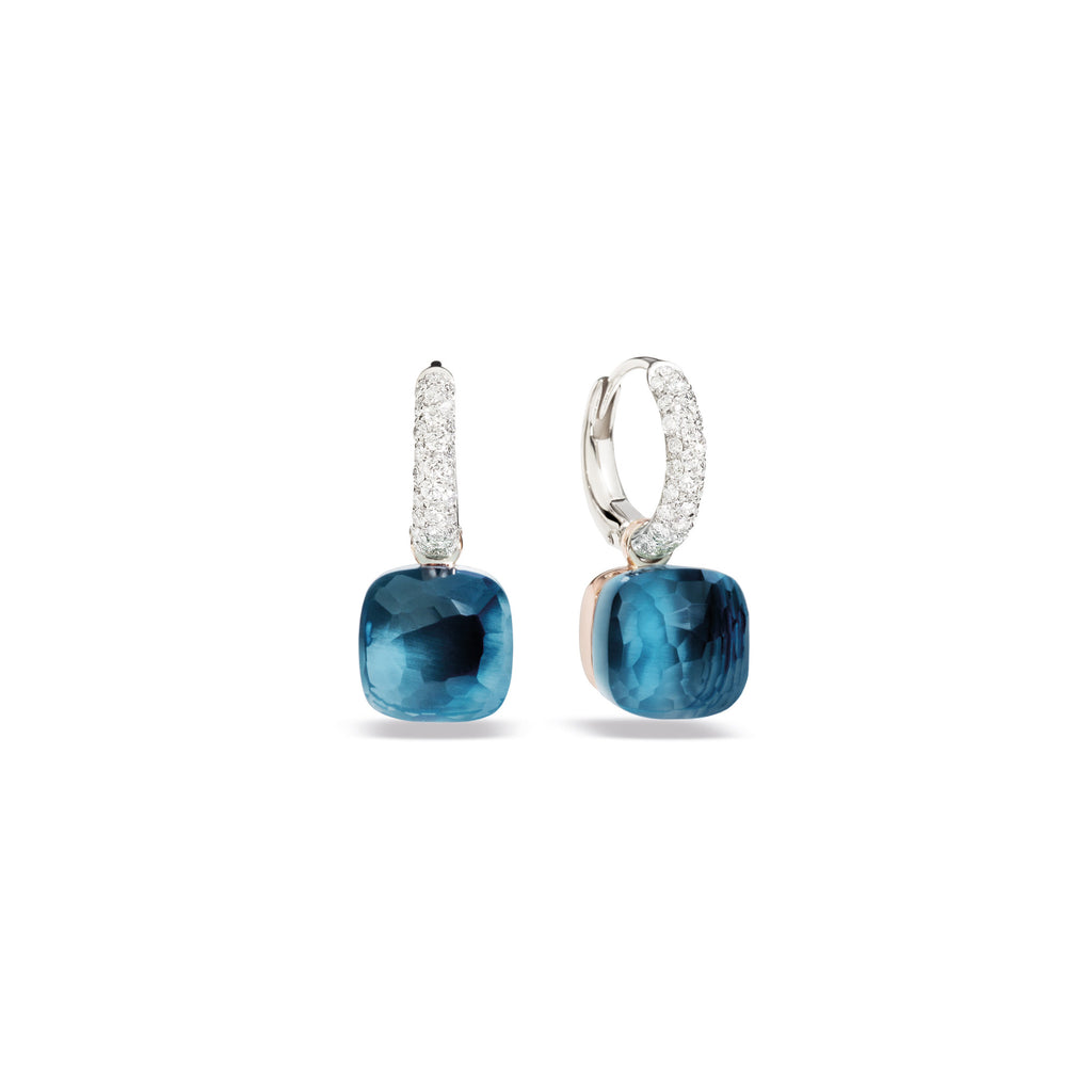 Nudo Earrings in White Gold and Rose Gold with London Blue Topaz and Diamonds (CT 0.55