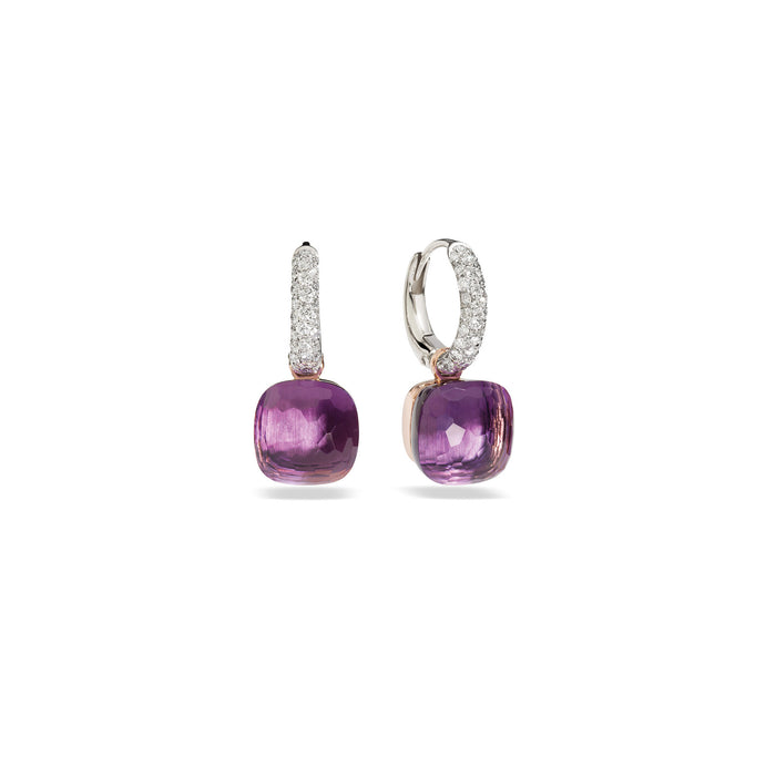 Nudo Classic Earrings in 18k Rose and White Gold with Amethyst and Diamonds