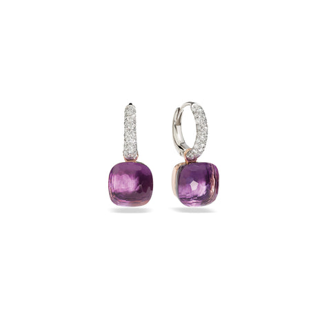 Nudo Amethyst Rose Gold Diamond Earrings