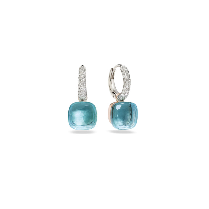 Nudo Classic Earrings in 18k Rose and White Gold with Sky Blue Topaz and Diamonds
