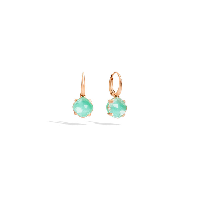 Capri Earrings in Matt Rose Gold Chrysoprase and Rock Crystal