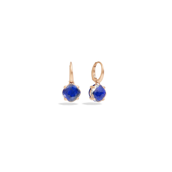 Capri Earrings in Matt Rose Gold with Lapis and Rock Crystal