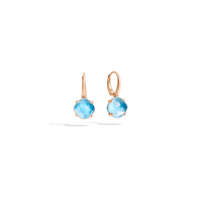 Capri Earrings in 18k Rose Gold with Rock Crystal and Turquoise