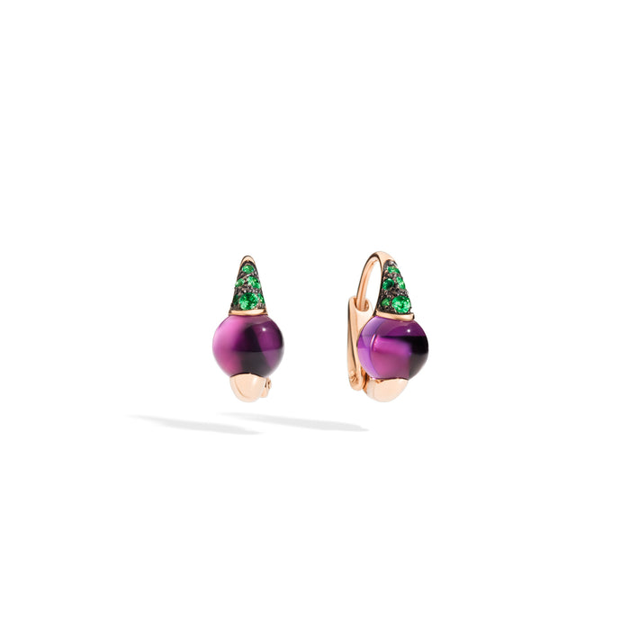 M'ama non M'ama Earrings in 18k Burnished Rose Gold with Amethyst and Tsavorites
