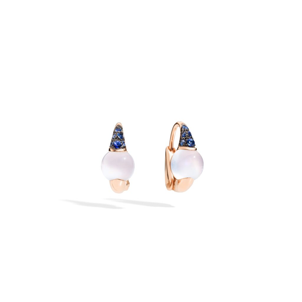 Mama Non Mama Moonstone Gold Earrings with Blue Sappires