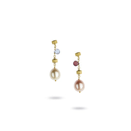 Paradise Single Strand Pearl & Gemstone 18k Gold Drop Earrings