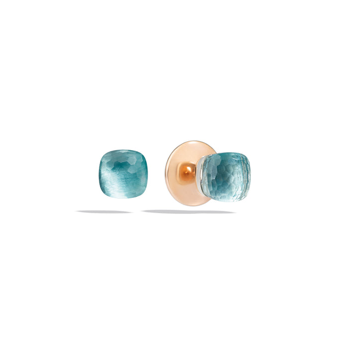Nudo Petit Stud Earrings in 18k Rose Gold and White Gold with Sky Blue Topaz