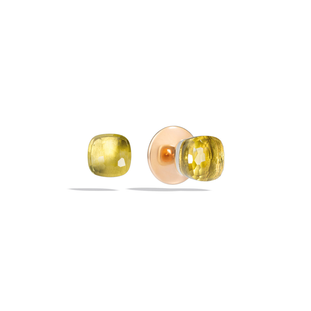 Nudo Stud Earrings in Rose Gold and White Gold, Lemon Quartz