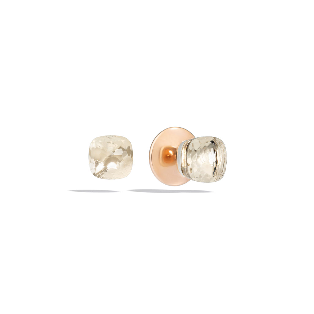 Stud Earring in Rose Gold and White Gold, White Topaz