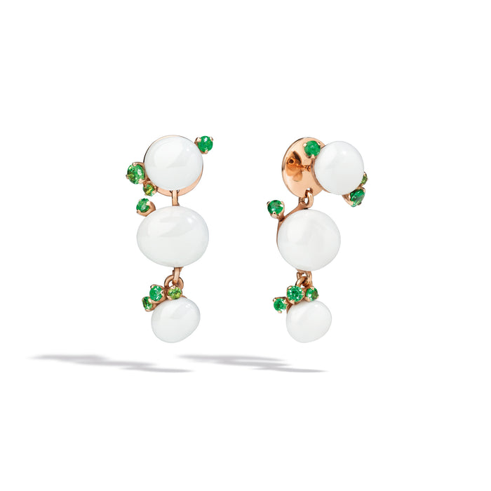 Capri Earrings in 18k Rose Gold with White Ceramic and Tsavorites