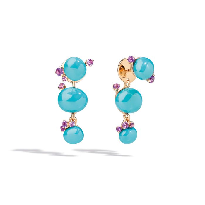 Capri Earrings in 18k Rose Gold with Turquoise Ceramic and Amethyst