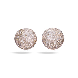 Sabbia Earrings in Rhodium-Plated and Burnished Rose Gold, Brown and White Diamonds CT 3.86