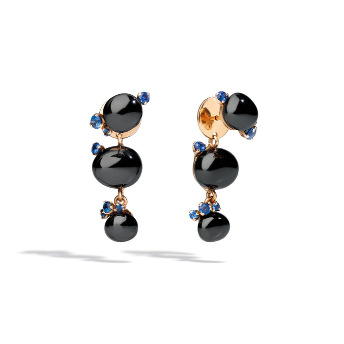 Capri Earrings in 18k Rose Gold with Black Ceramic and Blue Sapphires