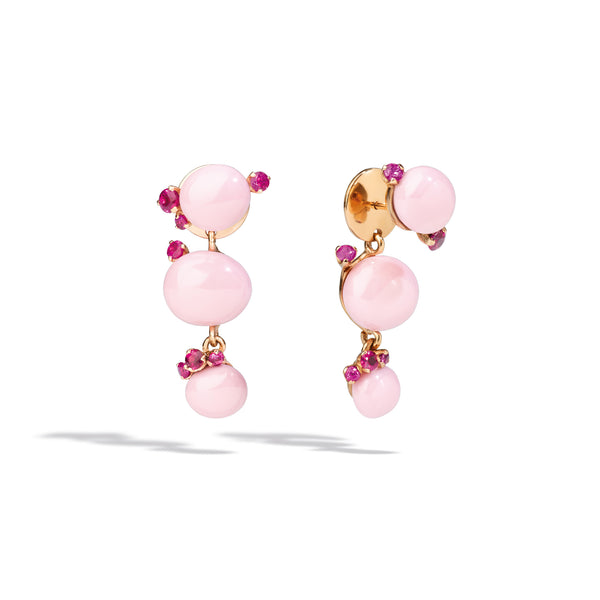 Capri Earrings in Rose Gold, Pink Ceramic and Rubies CT 0.95