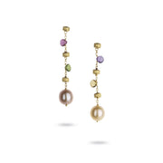 Paradise Earrings in 18k Yellow Gold with Gemstones and Pearls