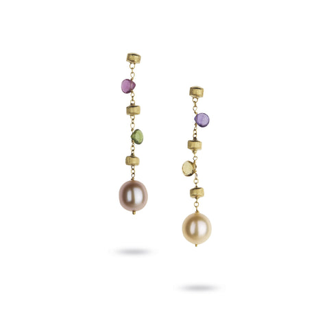Paradise 18k Gold Single Strand Pearl & Gemstone Longer Drop Earrings