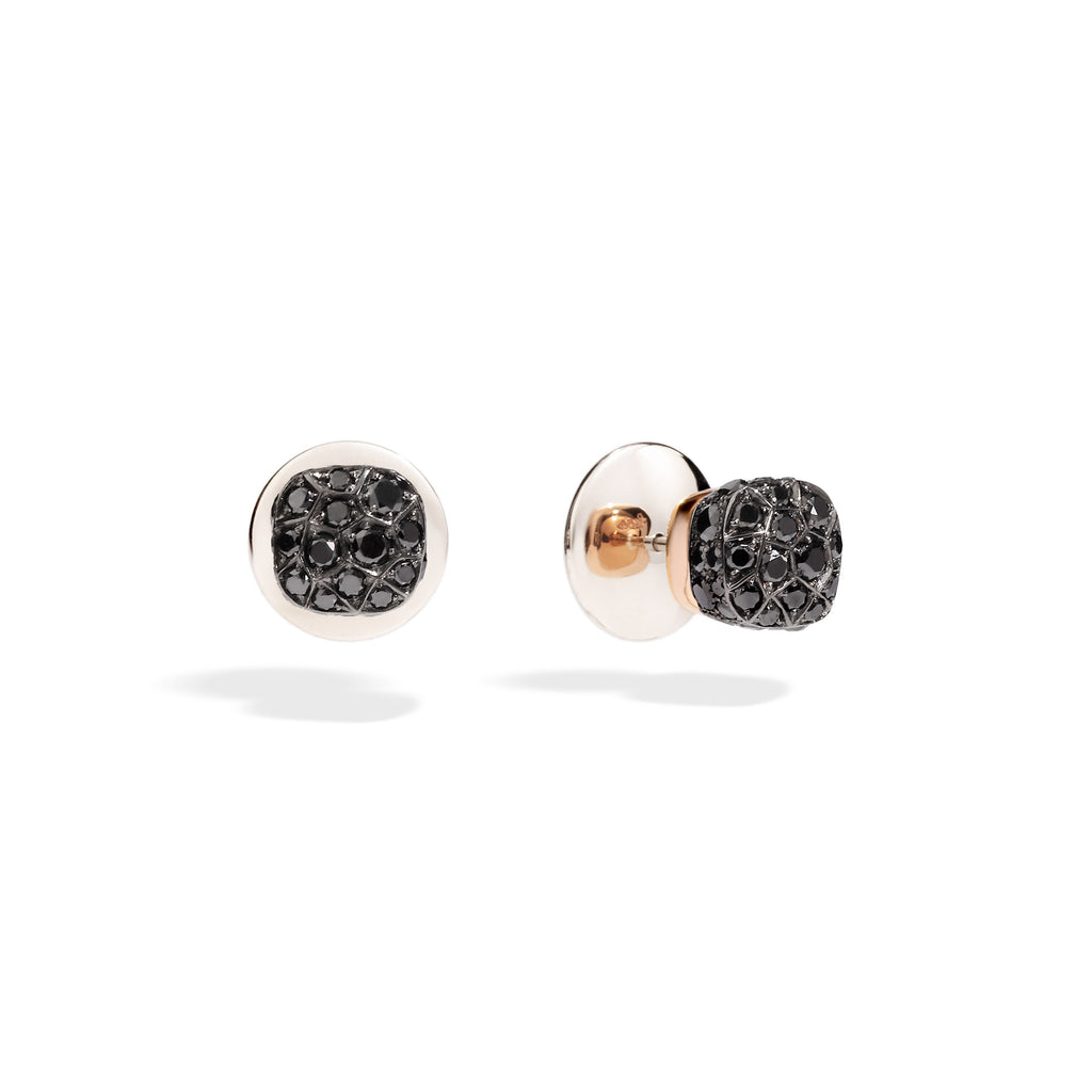 Nudo Stud Earrings in Rose Gold and White Gold with Black Diamonds (ct 1,7)