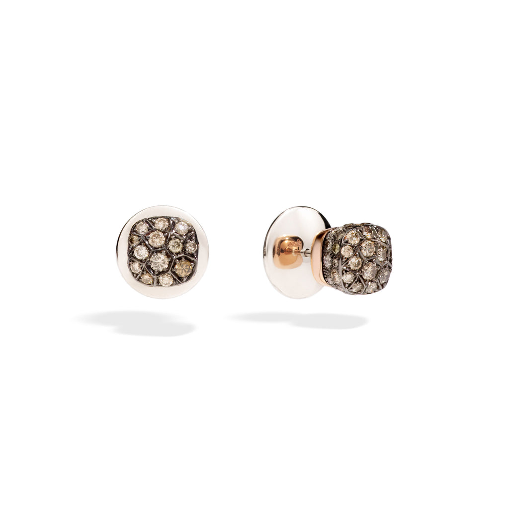 Nudo Stud Earrings in Rose Gold and White Gold with Brown Diamonds (ct 1,7)