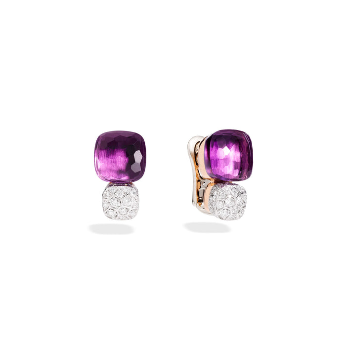 Earrings in Rose Gold and White Gold with Amethyst and Diamonds  (CT 1,7)