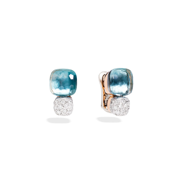 Earrings in Rose Gold and White Gold with Blue Topaz and Diamonds  (CT 1,7)