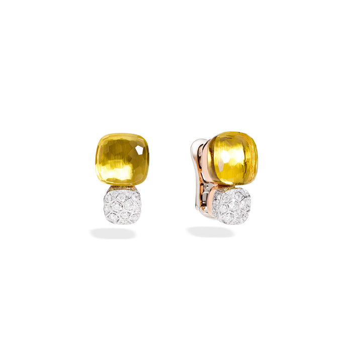 Nudo Maxi Stud Earrings in 18k Rose and White Gold with Lemon Quartz and Diamonds