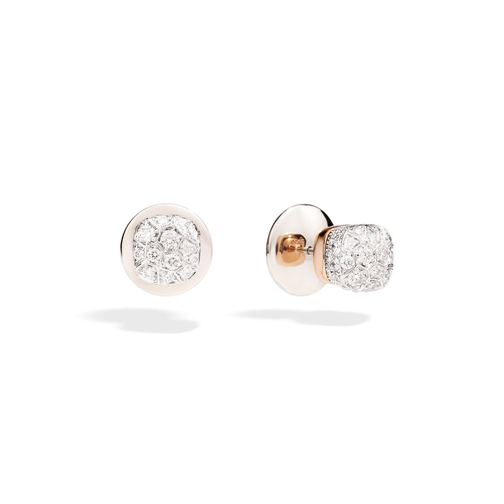 Nudo Stud Earrings in Rose Gold and White Gold with Diamonds  (ct 1,7)