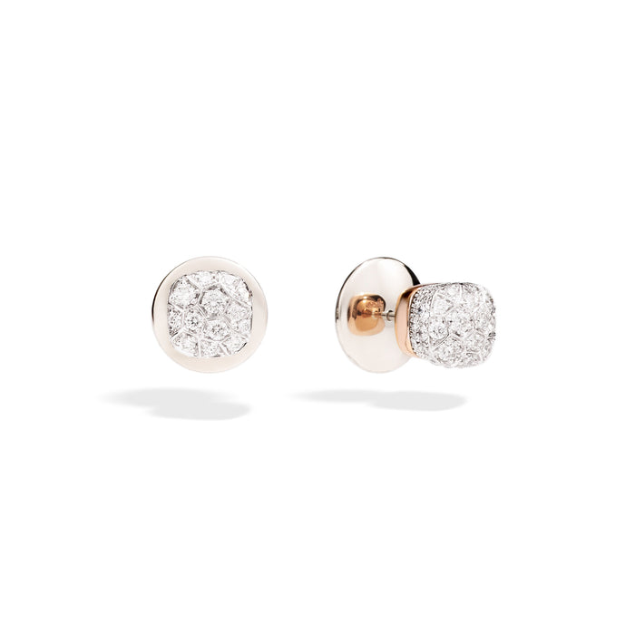 Nudo Petit Stud Earrings in 18k Rose and White Gold with Diamonds