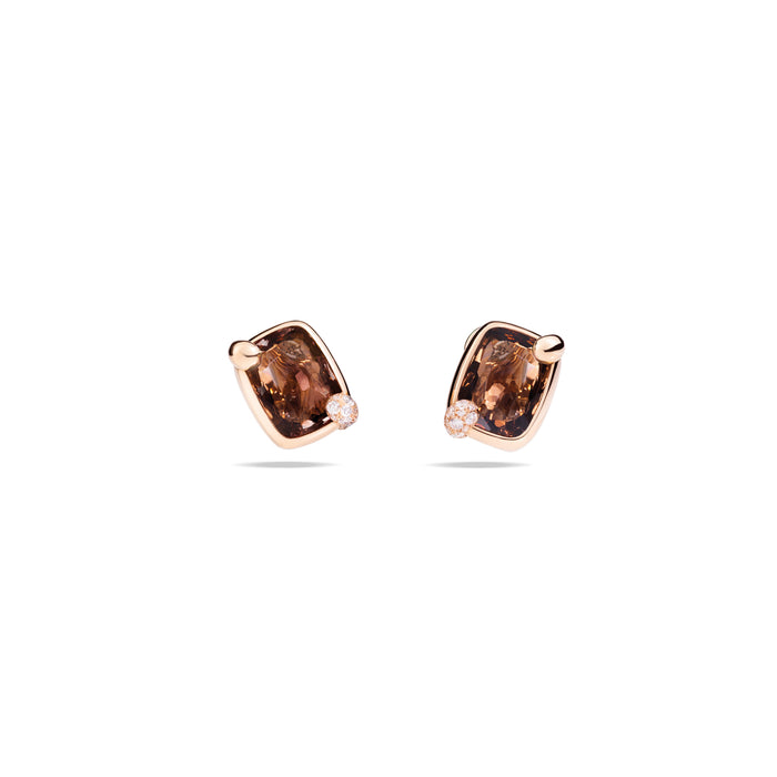 Ritratto Earrings in 18k Rose GOld with Smokey Quartz and Diamonds