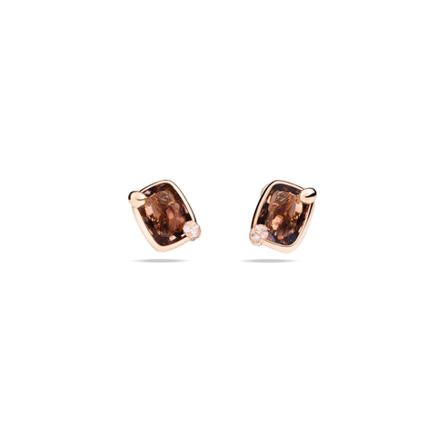 Ritratto Earrings in Rose GOld with Smokey Quartz and Diamonds