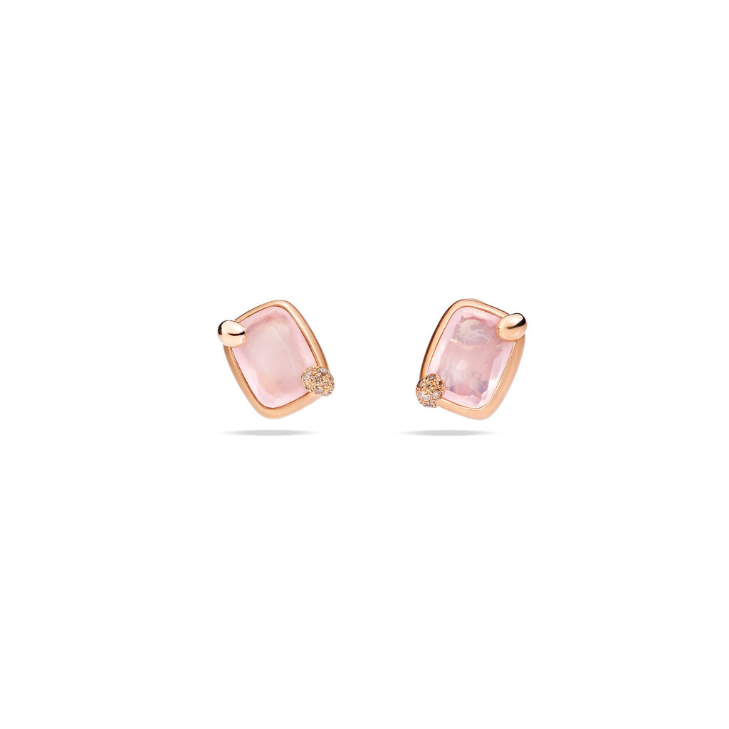 Ritratto Earrings in Rose Gold with Pink Quartz and Brown Diamonds