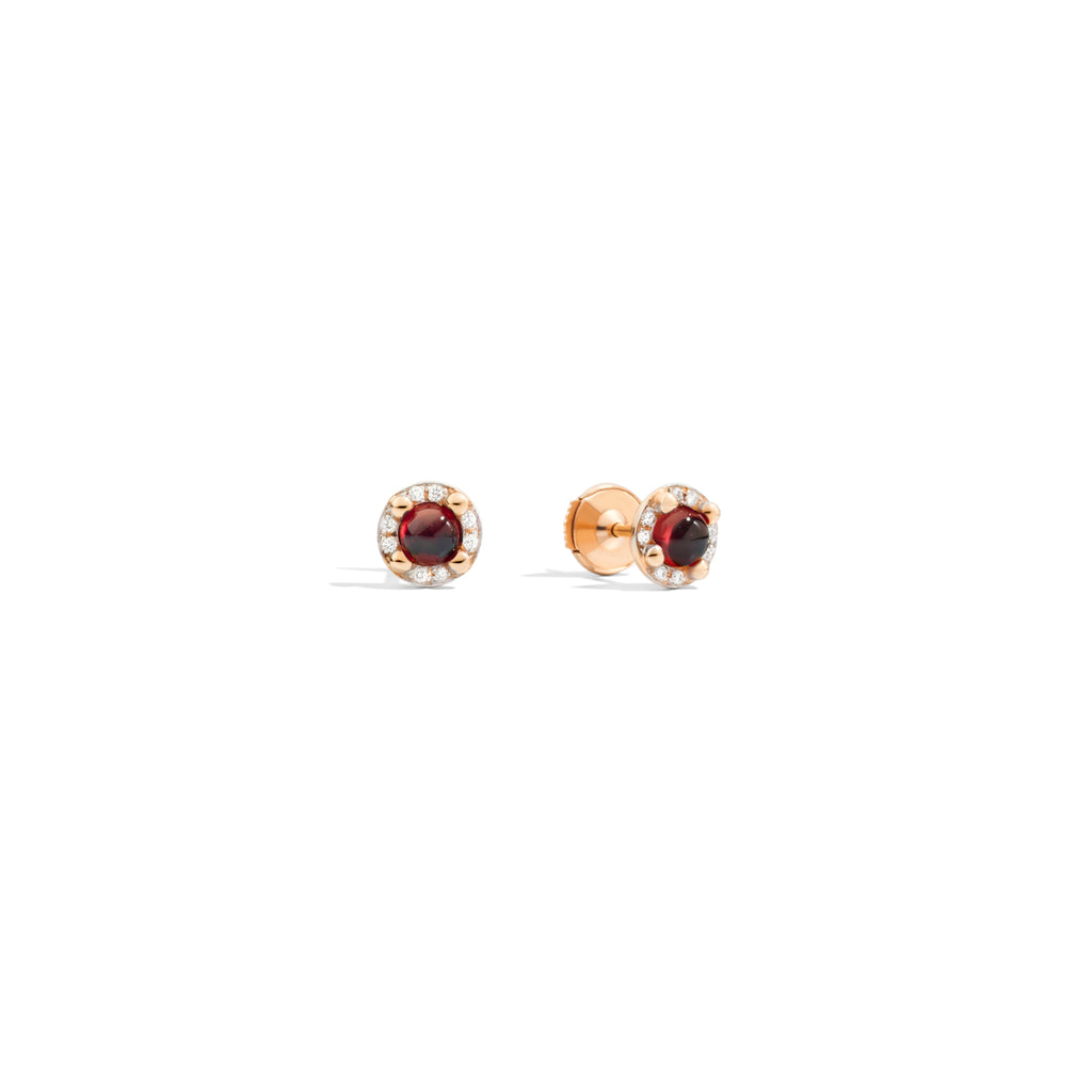Mama Non Mama Earrings in 18K Rose Gold, 2 Garnet 1.24 ct, 16 Diamonds 0.09 ct