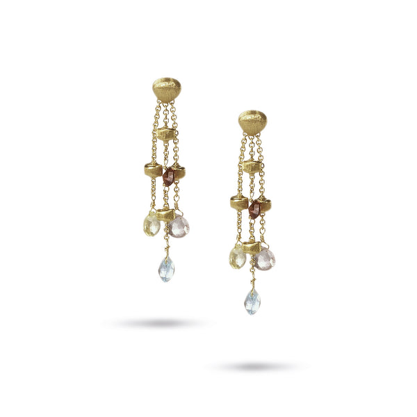 Paradise Three Strand Gemstone 18k Gold Longer Drop Earrings