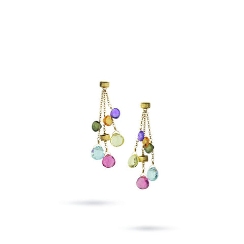 Paradise Three Strand Gemstone 18k Gold Drop Earrings