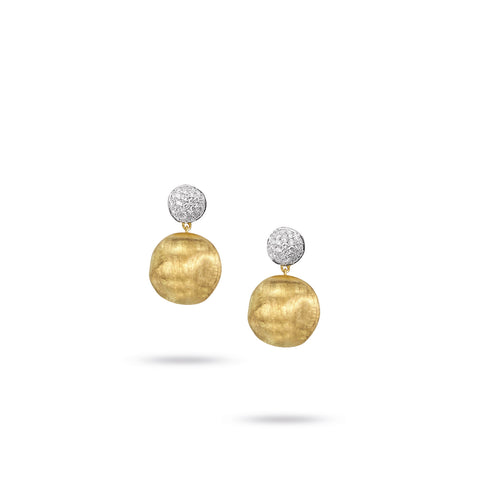 Africa Diamond Ball and 18k Gold Ball Drop Earrings