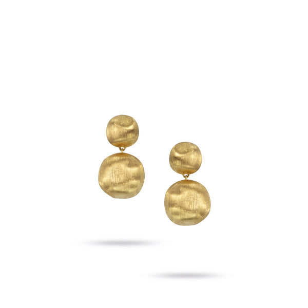 Africa Medium Double 18k Gold Ball Drop Earrings