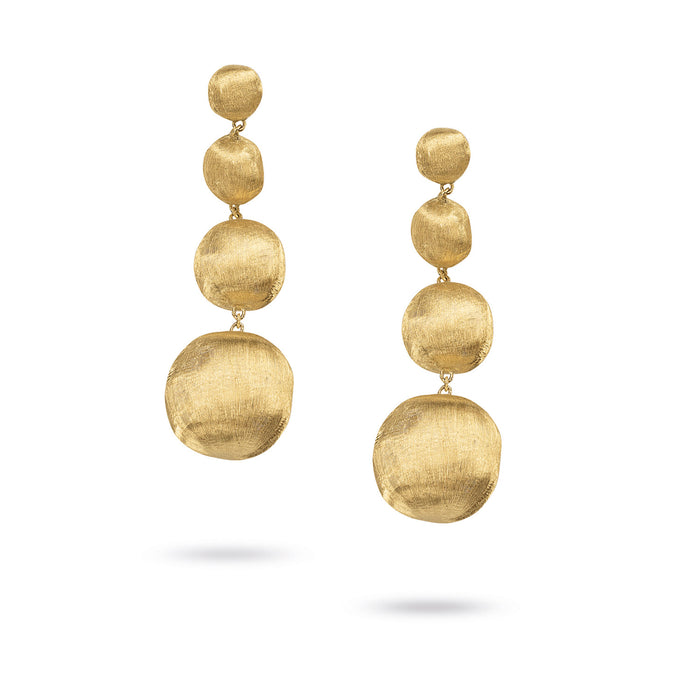 Africa Earrings Four Drop Small in 18k Yellow Gold