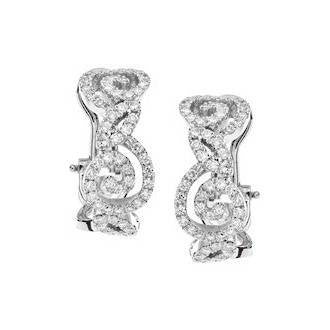 Rose Swirl 18k White Gold and Diamond Earrings