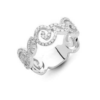 Rose Swirl Single Strand 18k White Gold and Diamond Ring