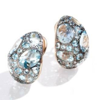 Tabou Blue Topaz 18k Rose Gold Earrings