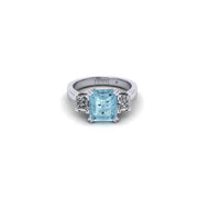 Orsini Emerald-Cut Aquamarine with Princess-Cut Diamonds Ring
