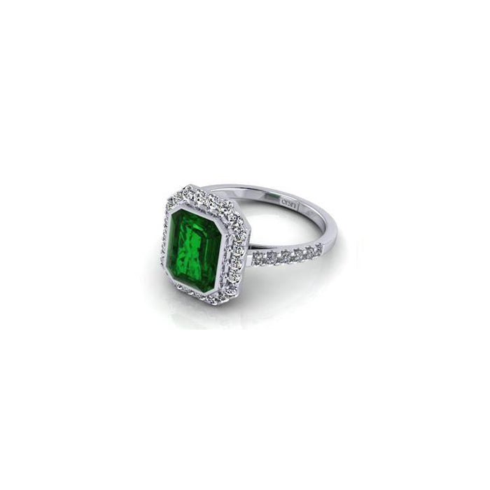 Orsini Emerald-Cut Emerald Coloured Stone Micropavé  Diamond Ring