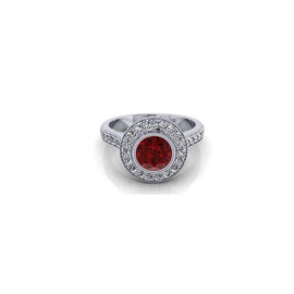Orsini Round Ruby Micropavé Diamond Ring