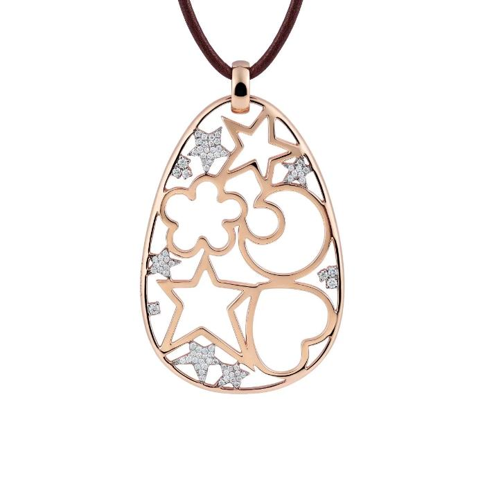 Icon Pendant in 18k Rose Gold with Diamonds - Orsini Jewellers NZ