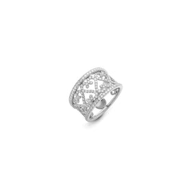 Pavone 18k White Gold Swirl Ring
