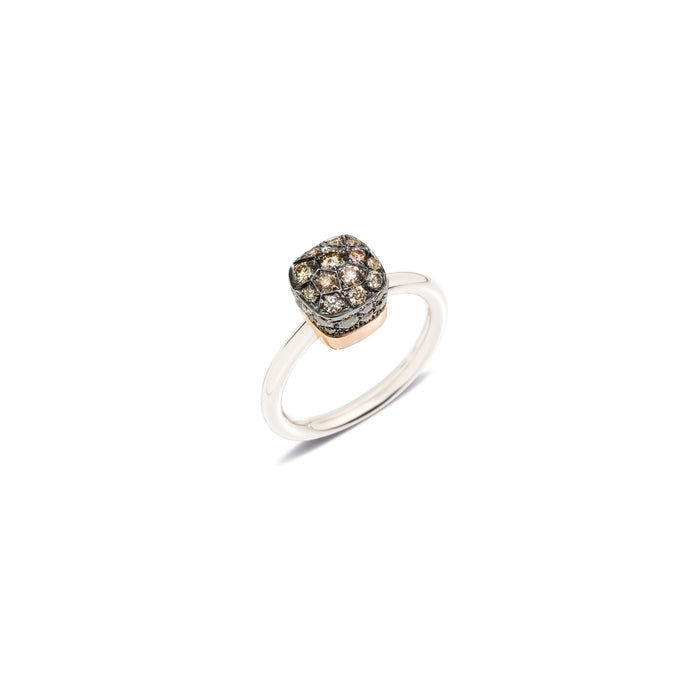 Nudo Petit Ring in 18k White Gold and Rose Gold with Brown Diamonds