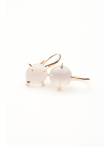Veleno White Quartz Rose Gold Drop Earrings
