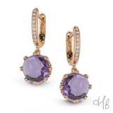 Principessa Rose Quartz Gemstone with Diamonds Drop Earrings