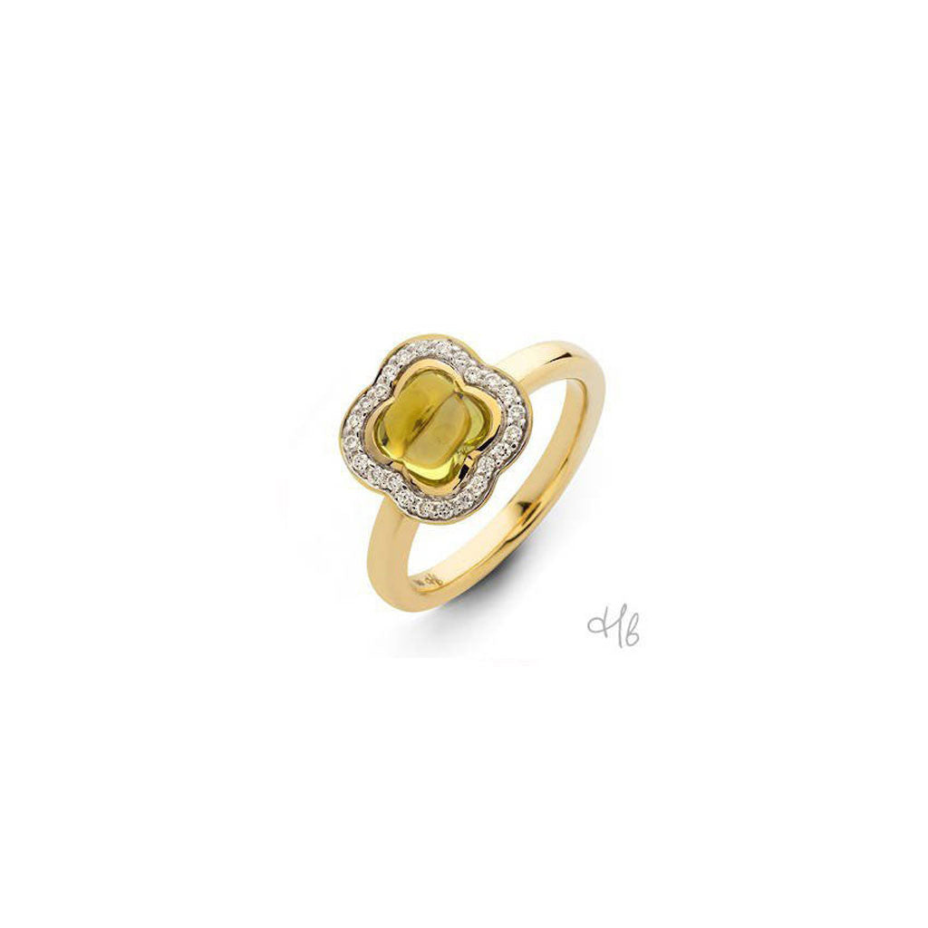 Quadrifoglio Light Yellow Quartz Gemstone with Diamonds set in 18k yellow Gold Ring